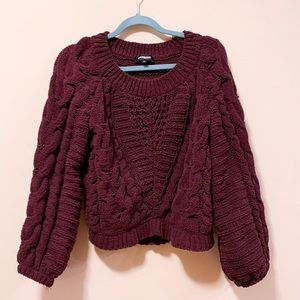 Express maroon chunky knit sweater